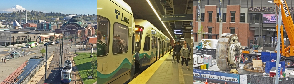 Photos of light rail in Tacoma and Seattle