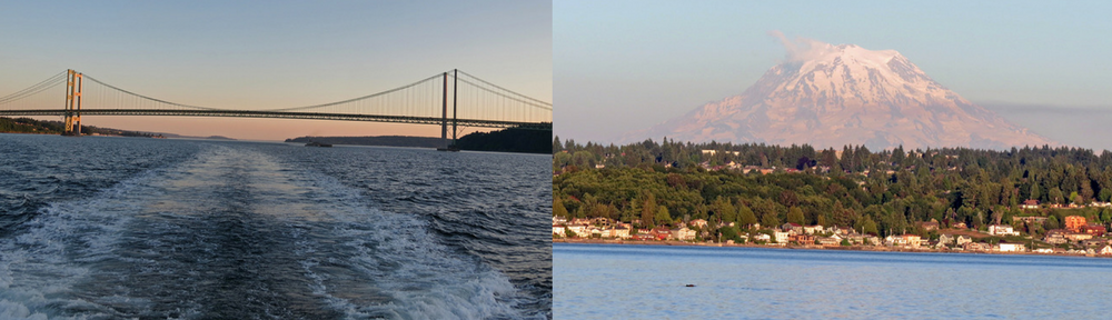 Photo of Narrows Bridge and Mt. Rainier at sunset