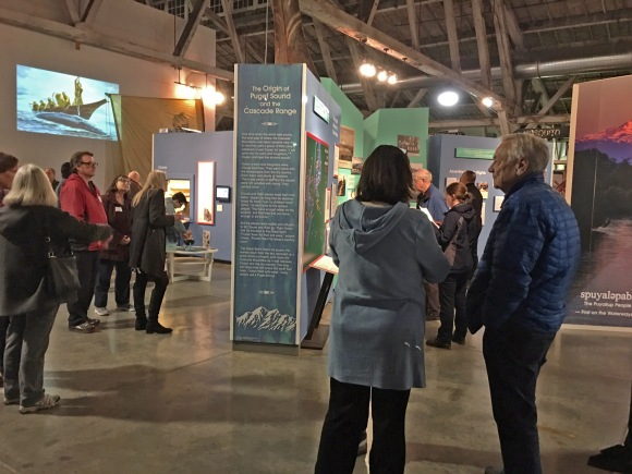 "Museum visitors enjoy the ""Puyallup People"" exhibit."